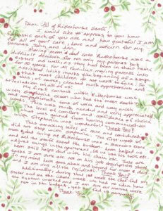 Rittenhouse Village Thank You Letter