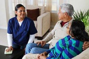 a staff member explains the shine memory care program
