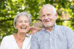 a couple is excited about their senior living amenities